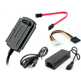 """Adaptador IDE/SATA a USB 2.0, para discos duros 2.5""""/3.5"""" y unidades ópticas"""
