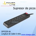 Supresor de picos Power Lite 6 salidas y 6 metros de cable Officer 66 PLI 560-6