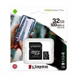 Memoria micro-SD Kingston 32 Gb, Canvas Select, UHS-I Speed Class 1 (U1), con Adaptador SD SDCS2/32GB