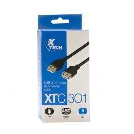Cable Usb 2.0 macho a hembra 1.8 mts XTC-301 Xtech