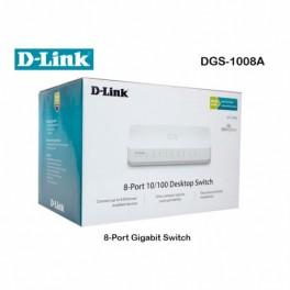 Switch D-Link DGS-1008A, 8 RJ-45 10/100/1000 Mbps, MDI/MDIX, CSMA/CD