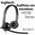 Auriculares Logitech H570E Stereo, micrófono, conector USB, Negro 981-000574
