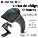 Lector de codigo de barras Datalogic QuickScan Lite QW2400  LED 1D/2D - incluye Cable USB y Base QW2420-BKK1S