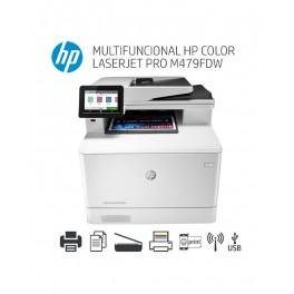 Impresora HP LaserJet Pro M479fdw Color, Multifuncional imprime/escanea/copia/fax, USB/LAN/Wi-Fi